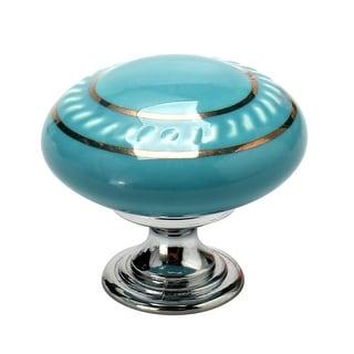 Ceramic Vintage Knobs Drawer Pull Handle Cupboard Dresser Door Gold Circle Blue