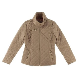 Jessica Simpson Womens Quilted Zip Front Basic Jacket Tan M