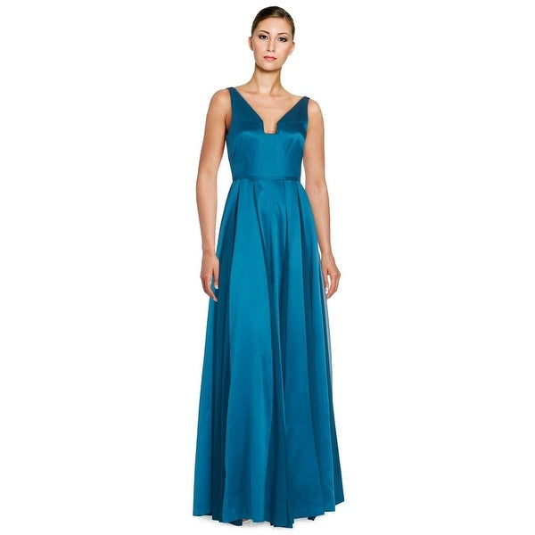 Halston Heritage Seamed Satin Sleeveless Fit & Flare Evening Gown ...