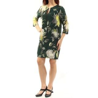 KAREN KANE $158 Womens New 1253 Green Floral 3/4 Sleeve V Neck Shift Dress M B+B