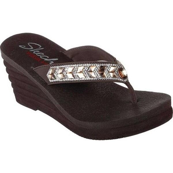 9511475cb861 Shop Skechers Women s Bohemian Arrow Wedge Sandal Chocolate - Free ...