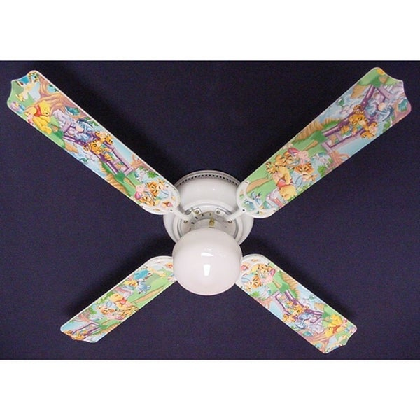 Pooh and Friends Print Blades 42in Ceiling Fan Light Kit - Multi