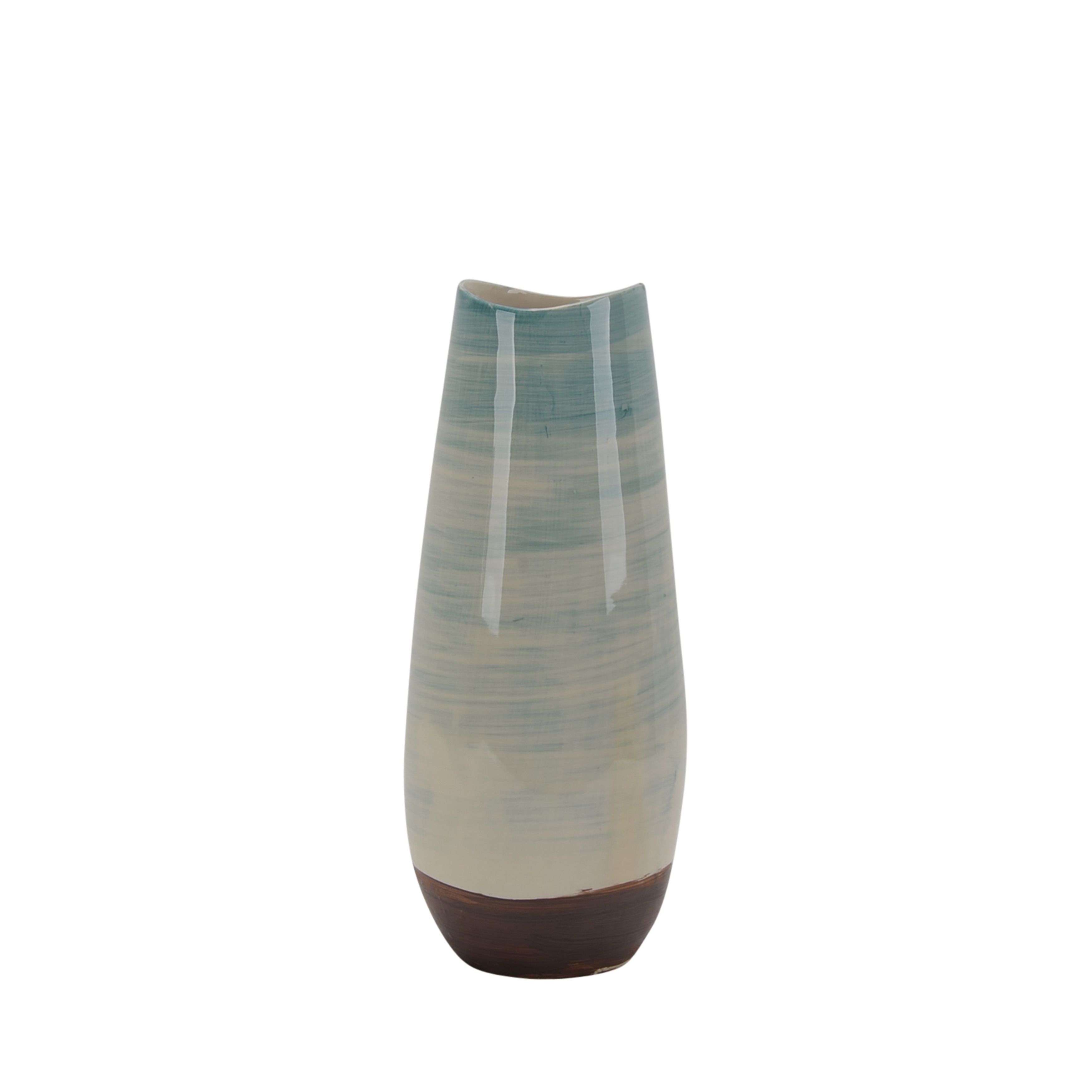 Transitional Ceramic Vase with Round Base, Multicolor