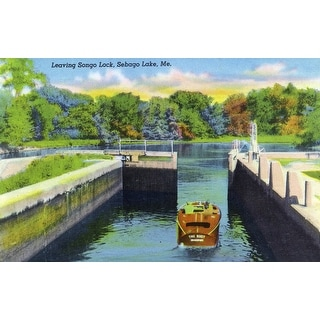 Sebago Lake, Maine - View of a Motorboat Leaving Songo Lock - Vintage Halftone (Poker Playing Cards Deck)