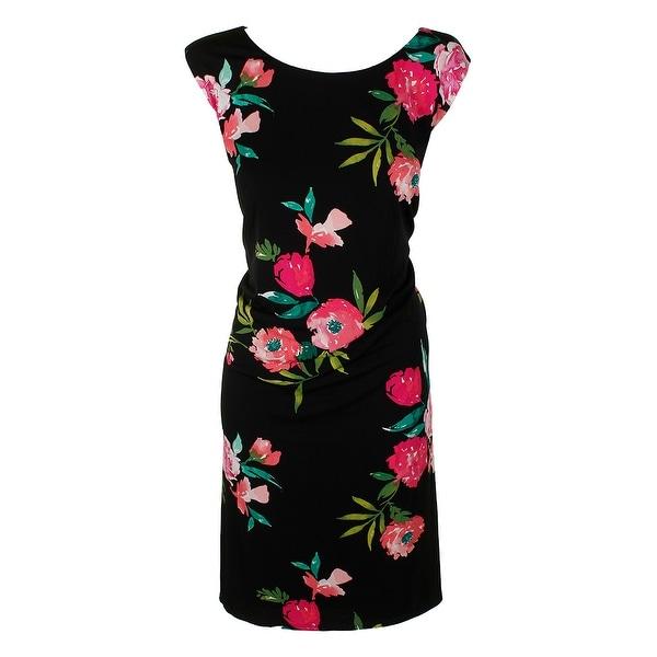 562a32c7f85f6 Jessica Howard Plus Size Black Multi Sleeveless Floral-Print Shift Dress 24W