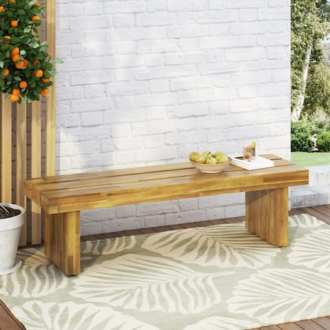 Appling Outdoor Acacia Wood Outdoor Bench by Christopher Knight Home