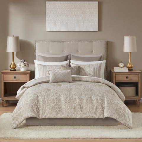 Madison Park Maisie Khaki 12 Piece Jacquard Complete Bed Set