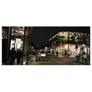 Poster Print entitled Louisiana, New Orleans, French Quarter, Illuminated street at night - multi-color