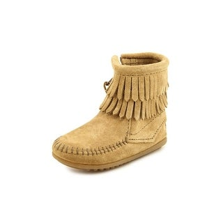 Minnetonka Double Fringe Bootie Toddler Round Toe Suede Tan Winter Boot