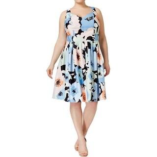Calvin Klein Womens Plus Casual Dress Floral Print Sleeveless