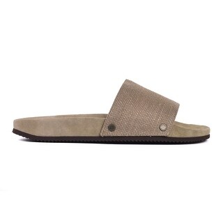 Brunello Cucinelli Mens Grey Textured Jute Canvas Slide Sandals