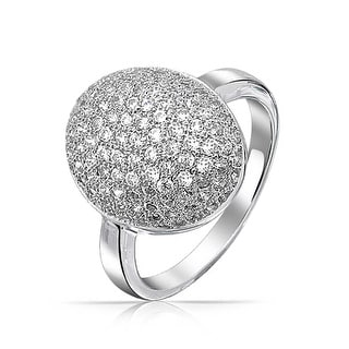 Cubic Zirconia Oval Pave Dome AAA CZ Prom Pageant Statement Ring Silver Plated Brass For Women