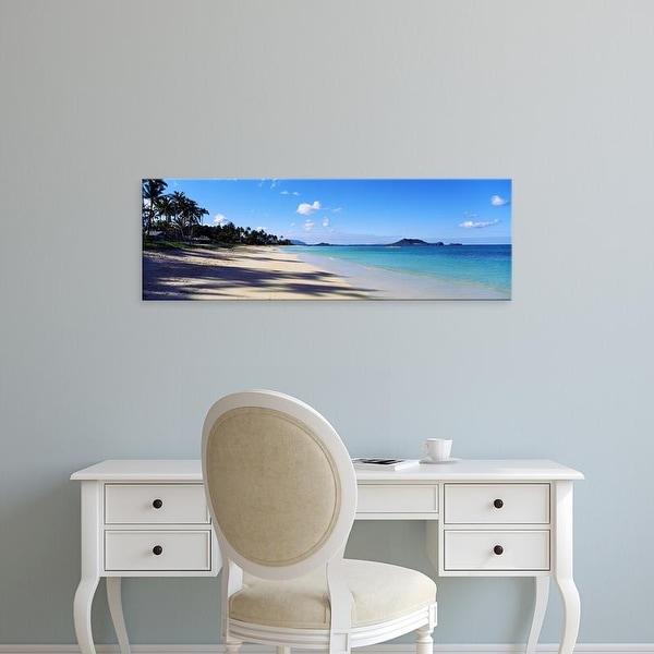 Easy Art Prints Panoramic Images's 'Palm trees on the beach, Lanikai Beach, Oahu, Hawaii, USA' Premium Canvas Art