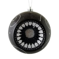 "Black and Silver Retro Reflector Shatterproof Christmas Ball Ornament 8"" (200mm)"