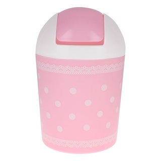 Table Plastic Round Shaped Dot Lace Design Mini Garbage Rubbish Bin Pink