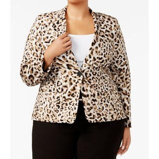 Calvin Klein NEW Brown Womens 14W Plus Animal-Print One-Button Blazer