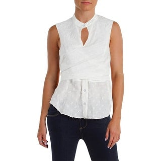 Rachel Roy Womens Peplum Top Sleeveless Distressed