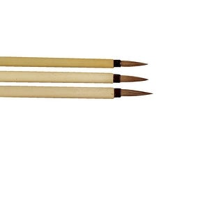 School Specialty Fine Brown Hair Bamboo Handle Watercolor Paint Brush Set, Assorted Size, Set of 3
