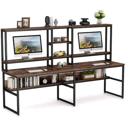 94.5 Double Computer Desk with Hutch, Extra Large Desk for 2 Person