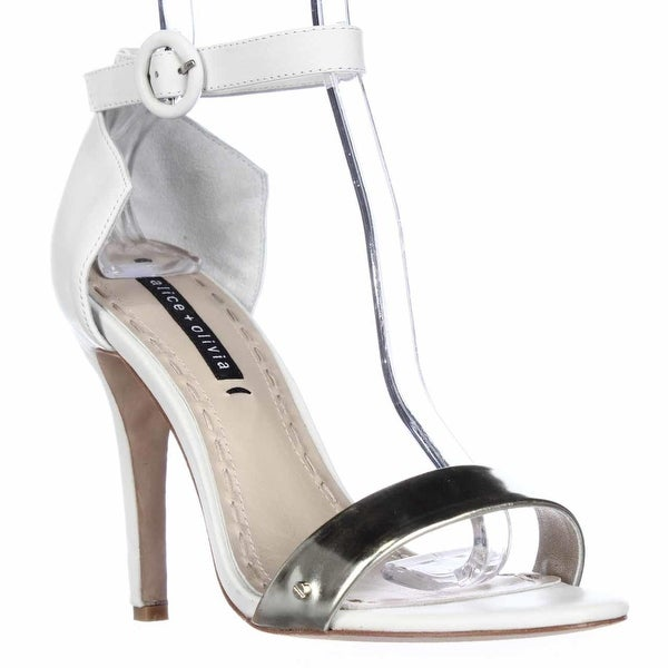Alice and Olivia by Stacey Bendet Gala Ankle Strap Dress Sandals, White/Pale Gold