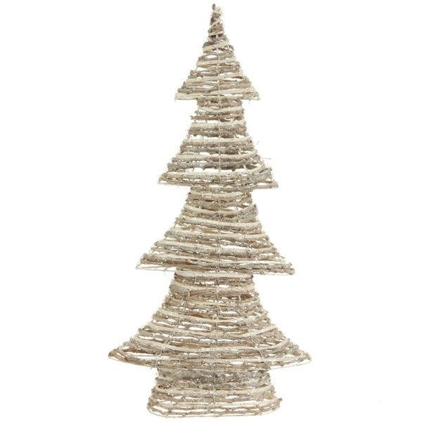 """24"""" Winter Light Brown and White Glittered Rattan Decorative Christmas Tree - Unlit"""
