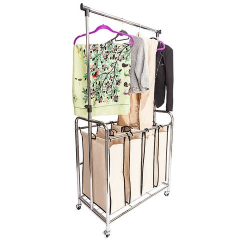 Electroplate Laundry Sorter Hamper with Hanging Bar