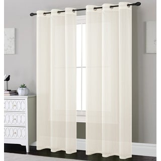 Whitney 2-Pack Striped Design Sheer Grommet Panels, 76x84 Inches - 76 x 84