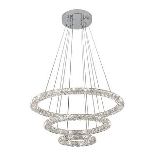 """Bazz Lighting P14532CR Glam 3-Light 27-1/2"""" Wide Integrated LED Crystal Ring Chandelier with Clear Crystal Shade - Chrome - n/a"""