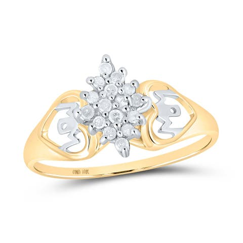 10k Yellow Gold Womens Round Diamond Mom Heart Cluster Ring 1/6 Cttw