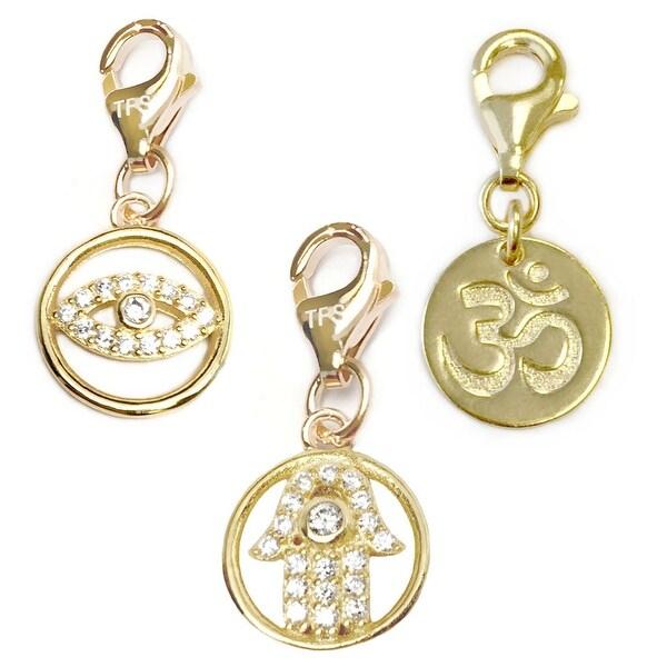 Julieta Jewelry Hamsa Hand, Lucky Eye, Om 14k Gold Over Sterling Silver Clip-On Charm Set