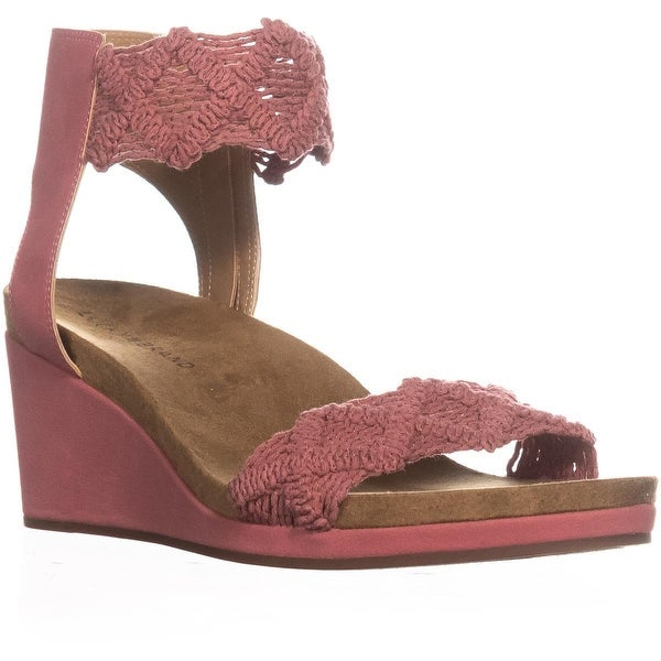 Lucky Brand Kierlo Ankle Strap Wedge Sandals, Canyon Rose - 10 us / 42 eu