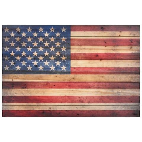 American Flag Solid Fir Wood Plank Wall Art
