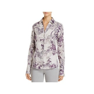 Foxcroft NYC Womens Lauren Button-Down Top Floral Fitted