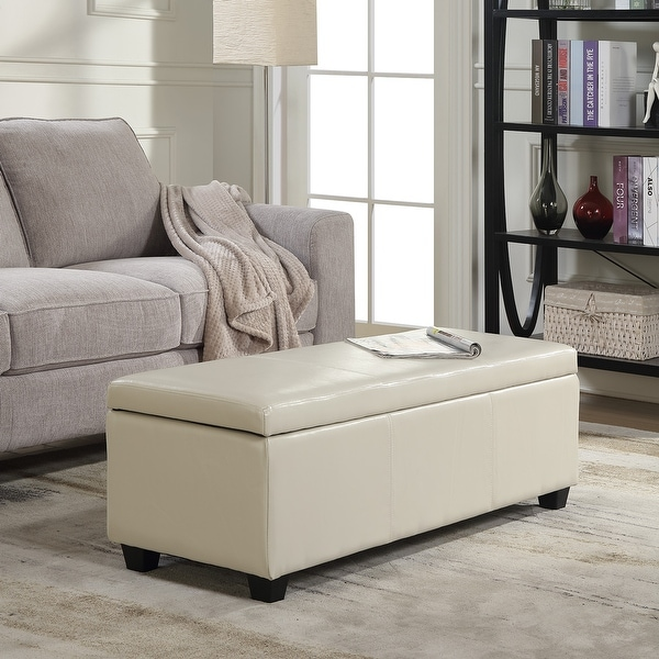 shop belleze modern elegant ottoman storage bench living 12447 | belleze modern elegant ottoman storage bench living bedroom room home faux leather 48 22 inch cream