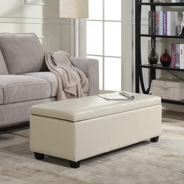 Belleze Modern Elegant Ottoman Storage Bench Living Bedroom Room Home Faux  Leather 48\