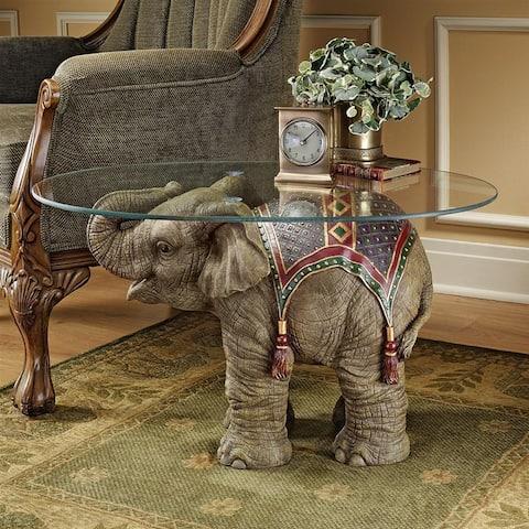 Design Toscano Jaipur Elephant Festival Glass-Topped Cocktail Table - 30 x 18 x 18