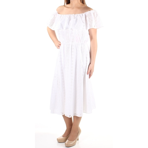 72f5d8df152ff CALVIN KLEIN Womens White Lace Short Sleeve Off Shoulder Tea Length Fit +  Flare Dress Size: 8