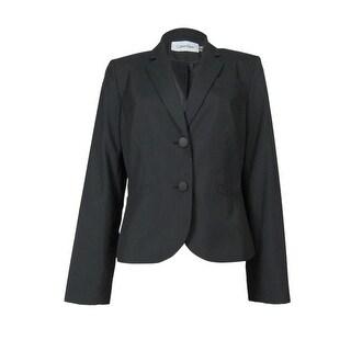 Calvin Klein Women's Pocketed Pinstripe Blazer - Black/Cream - 4P