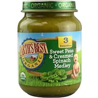 Earth's Best - Organic Sweet Peas & Creamed Spinach Medley ( 12 - 6 OZ)