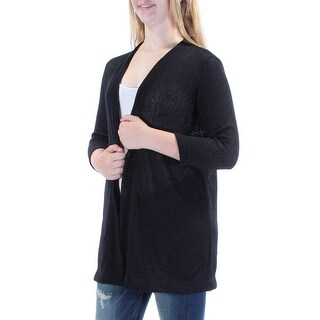 ALFANI $70 Womens New 1275 Black Open Cardigan Casual Sweater M B+B