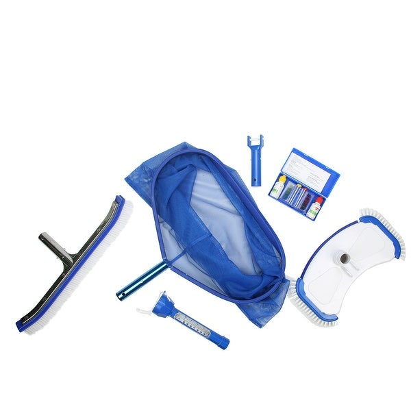 5-Piece Deluxe Swimming Pool Kit - Vacuum  Leaf Rake  Brush  Thermometer and Test Kit