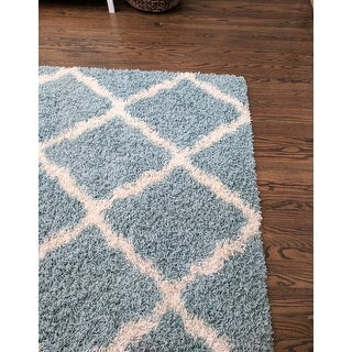 safavieh dallas shag light blue ivory trellis rug 6 39 x 9 39 free shipping today overstock. Black Bedroom Furniture Sets. Home Design Ideas