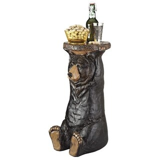 Design Toscano Black Forest Bear Pedestal Table
