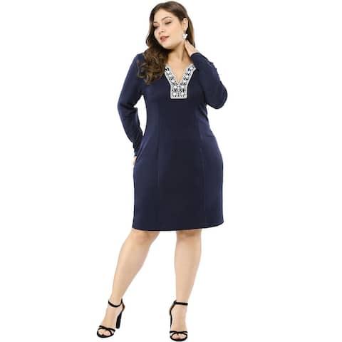 Women's Plus Size Embroidered V Neck Sheath Dress - Blue