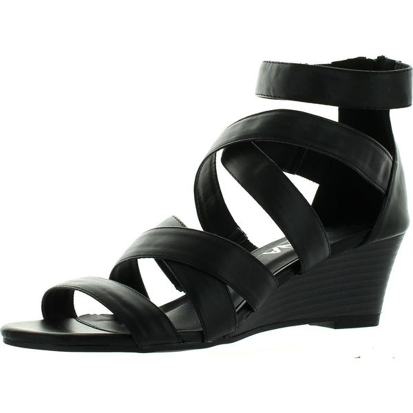 Diviana Nicki-16 Womens Criss Cross Strappy Back Zip Wedge Sandals