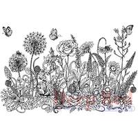 """Deep Red Cling Stamp 3.2""""X2""""-Summer Flowers Border"""