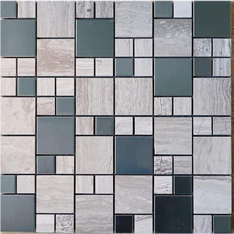 TileGen. Square Cloud Random Sized Mixed Material Mosaic Tile in Beige Wall Tile (10 sheets/9.6sqft.)