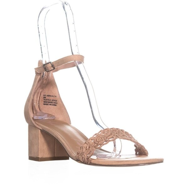 AR35 Brexley Ankle Strap Block Heel Sandals, Nude