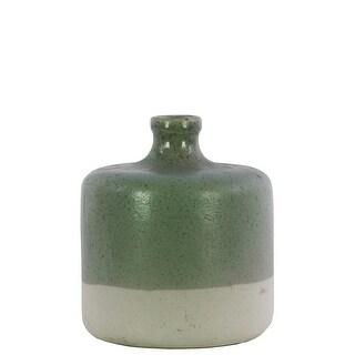 Ceramic Round Narrow Neck White Banded Rim Bottom Vase, Small, Green