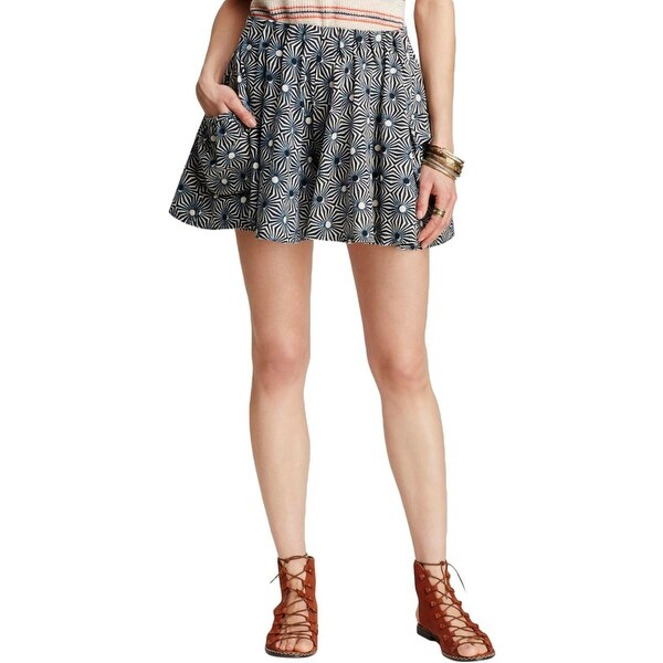 Free People Womens A-Line Skirt Pattern Above Knee